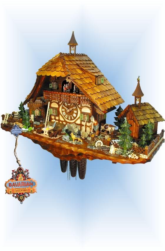 August Schwer | 5.8878.01.p | 22''H | Goat Herder Farm | Chalet style | cuckoo clock