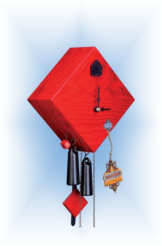 Rombach & Haas   ra13-3   10''H   Rhombus 1 Red   Modern   cuckoo clock   full view