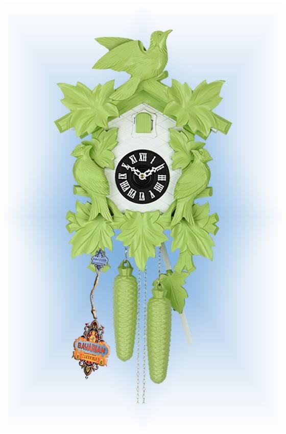 Hekas   1606G   8''H   Green Mod   Modern   cuckoo clock   full view
