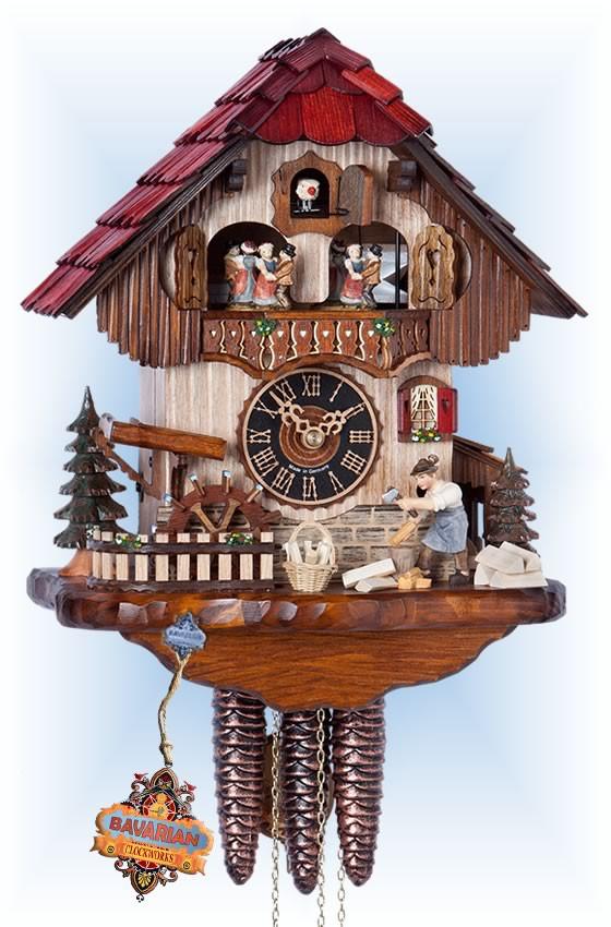 Hones | 6211t | 13''H | Woodchopper | Chalet style | cuckoo clock | full view