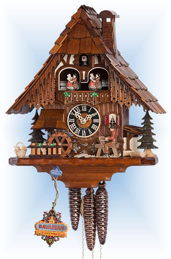 Hones   6266t   14''H   Wood Worker   Chalet style   cuckoo clock   full view