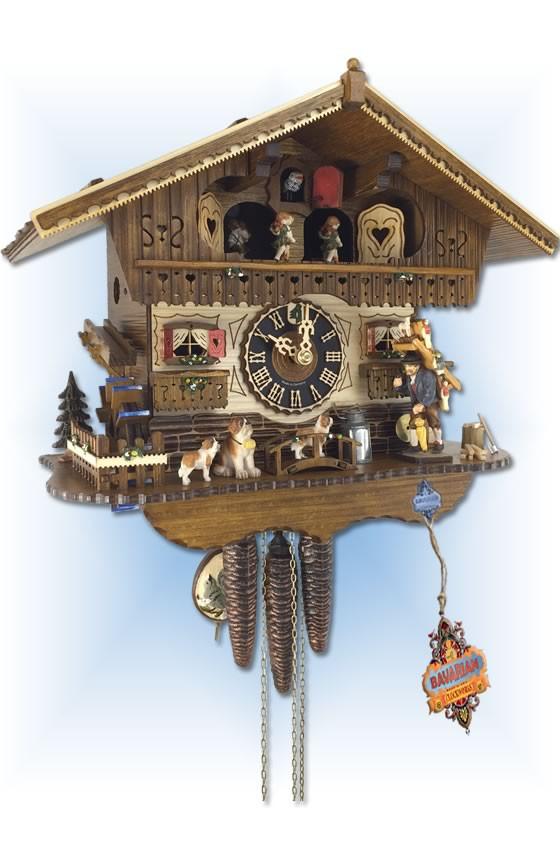 Hones | 6768t | 11''H | Bavarian House | Chalet style | clock peddler | cuckoo clock | cuckoo view