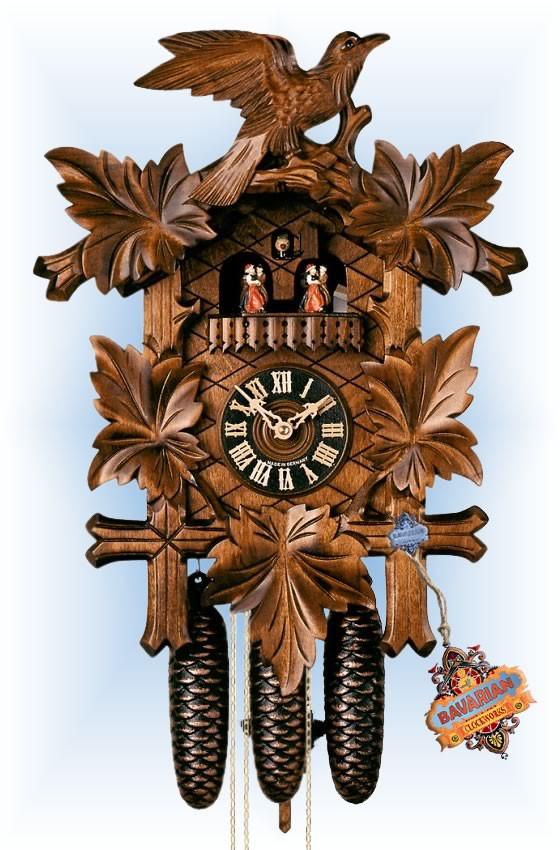 Hones   8600-5tnu   19''H   Five Leaves Bird   Traditional   cuckoo clock   full view