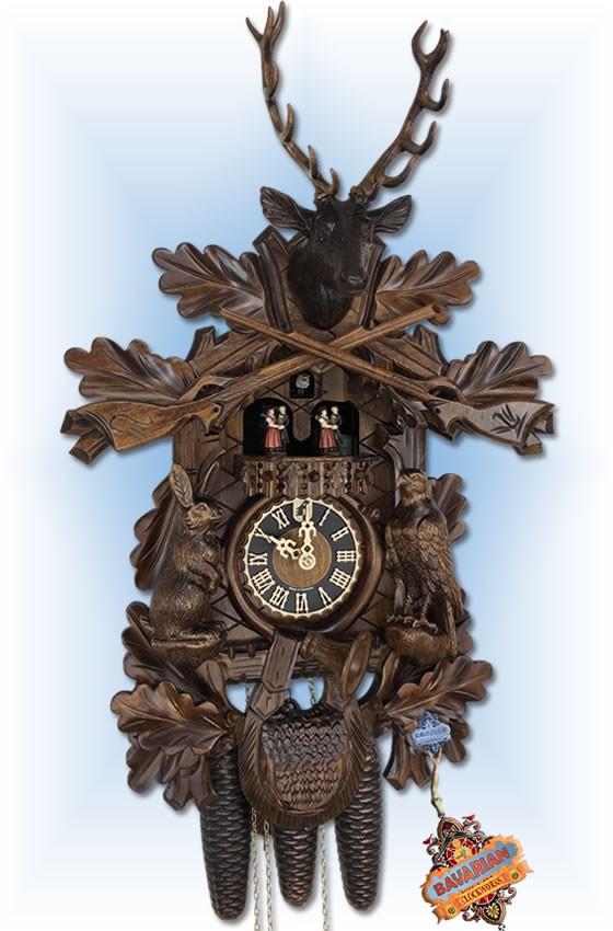 Hones clock   8634-5tnu   24''H   Trophy Buck   Traditional   cuckoo clock   full view