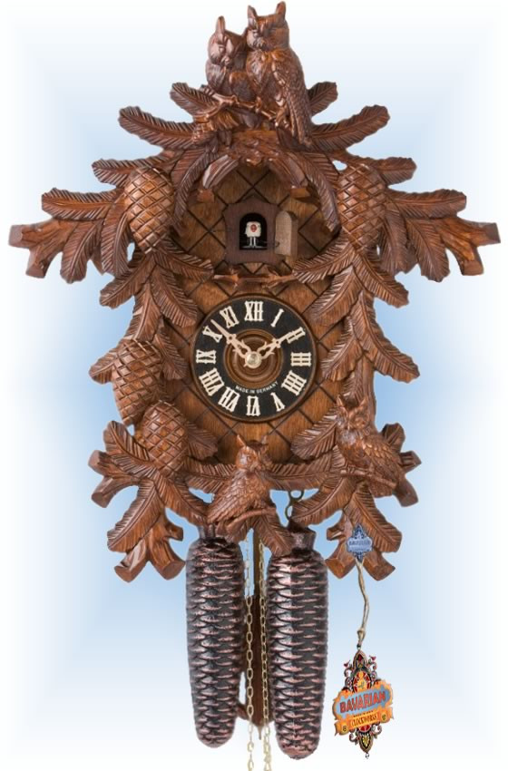 Hones | 8710-4tnu | 16''H | Four Owls | Traditional | coo coo clock | full view