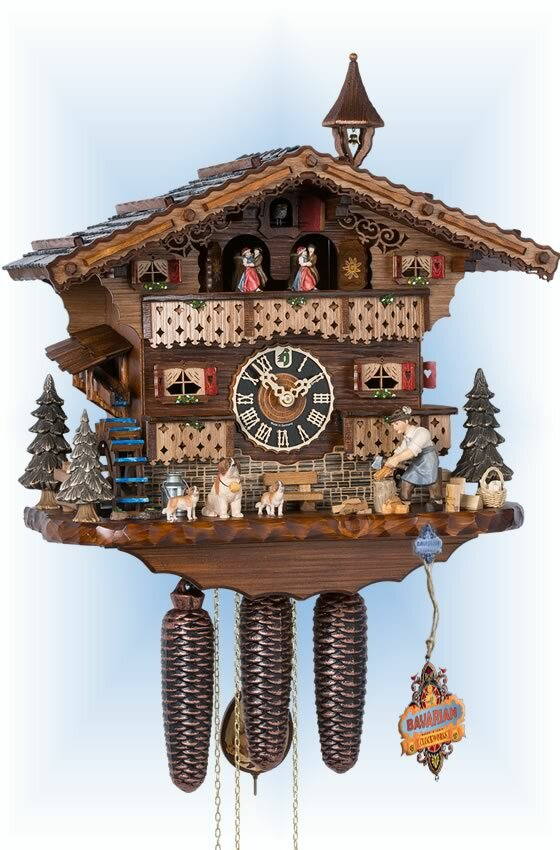Hones | 86245t | 13''H | Dog & Woodsman | Chalet style | cuckoo clock | full view