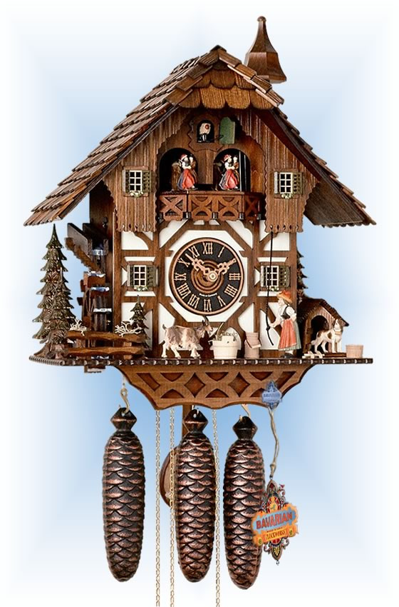 Hones | 86294t | 17''H | Hungry Goat | Chalet style | cuckoo clock | full view