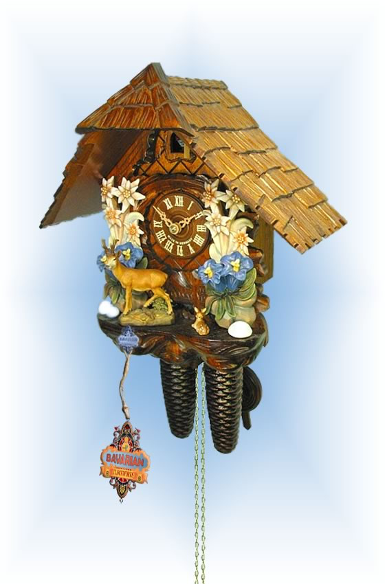 August Schwer   2.0403.01.c   12''H   Edelweiss Deer   Chalet style   cuckoo clock   full view