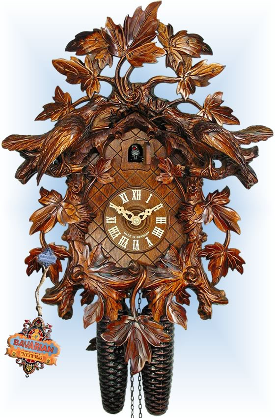 August Schwer | 2.5041.01.p | 16''H | 15 Leaf Two Bird | Traditional | cuckoo clock | full view