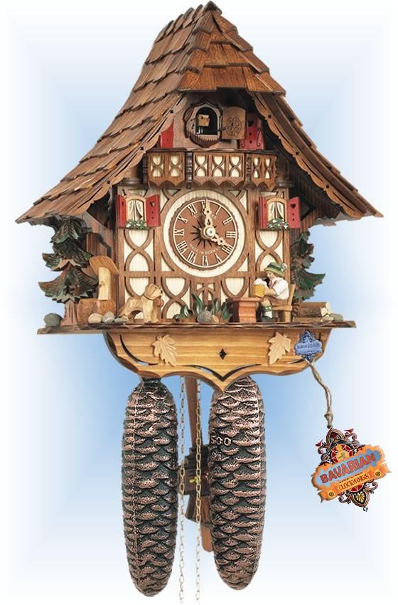 Schneider | 8t-1673-9 | 12''H | Beer Drinker | Chalet style | cuckoo clock | full view