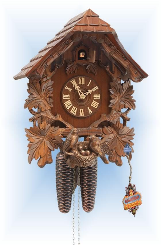 Rombach & Haas   3461   15''H   Bird Nest House   Chalet style   cuckoo clock   full view