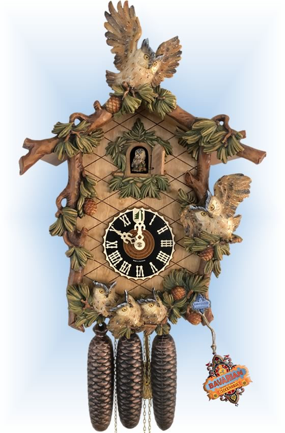 Hones cuckoo clock | 8639-6 | 20''H | Owl Family | Traditional | full view