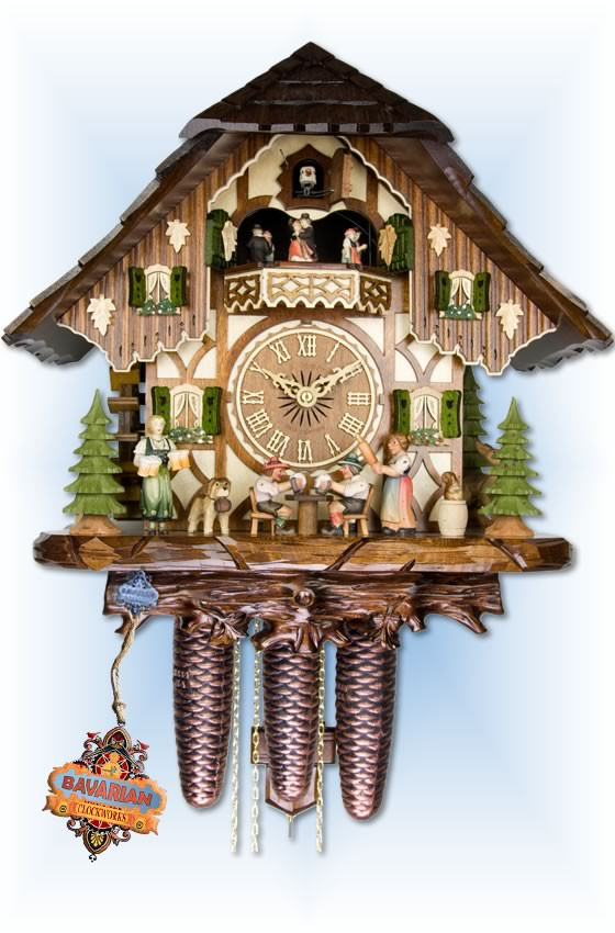Adolf Herr   821-12-8tmt   16''H   Tipsy Brothers   Chalet style   cuckoo clock   full view