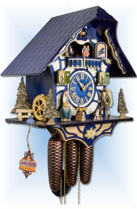 Adolf Herr   531/1-8TMT-B   15''H   Magic Blue   Chalet style   cuckoo clock   left