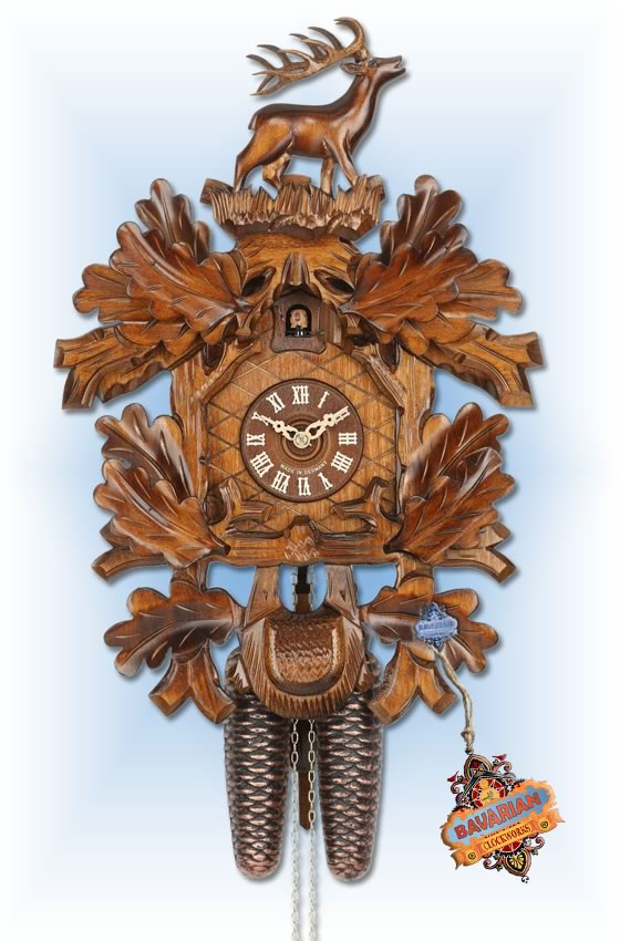 Hekas | 856 | 17''H | Oak Leaf Stag | Traditional | cuckoo clock | full view