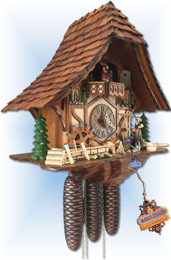 Hekas | 3727/8 | 16''H | Bell Ringer | Chalet style | cuckoo clock | left angle