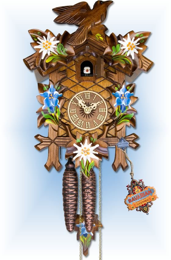 Adolf Herr   100/8   12''H   Alpine Floral   Traditional   coo coo clock   full view