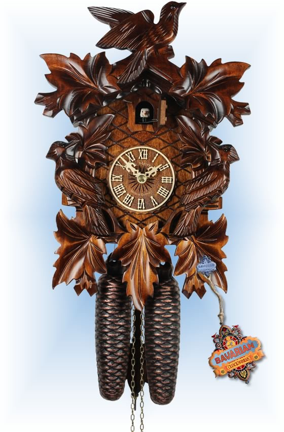 Adolf Herr   322/1   12''H   The Cuckoo Birds   Traditional   coo coo clock   full view