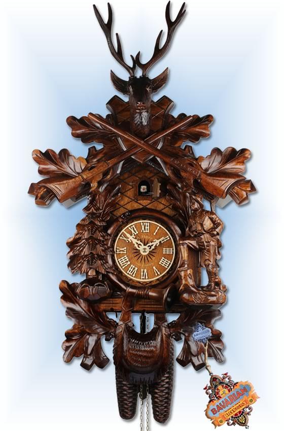 Adolf Herr |573-1-8T | 23''H | The Deer Hunter | Traditional | cuckoo clock | full view