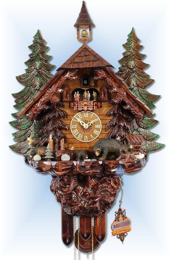 Adolf Herr  UK51-8TMT   31''H   Big Bear Family   Chalet style   cuckoo clock   full view