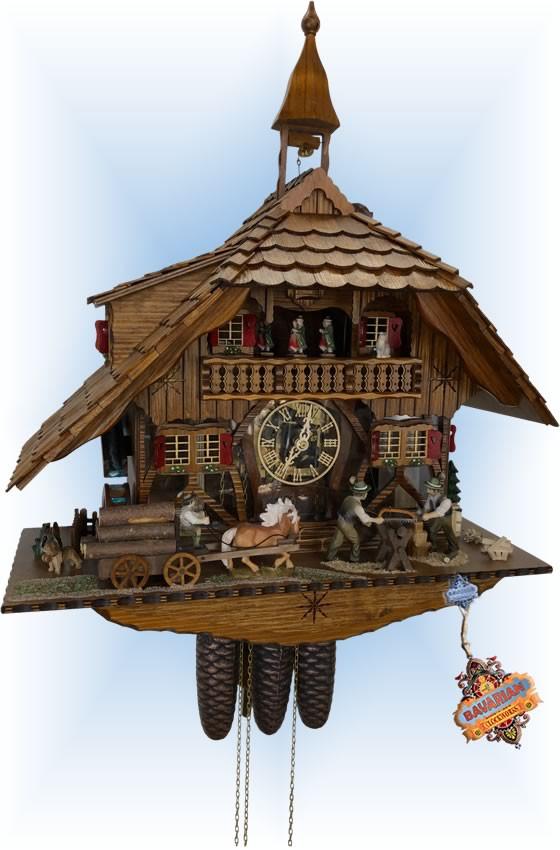Schneider   23''H   See Thru Mill   Chalet style   cuckoo clock   full view
