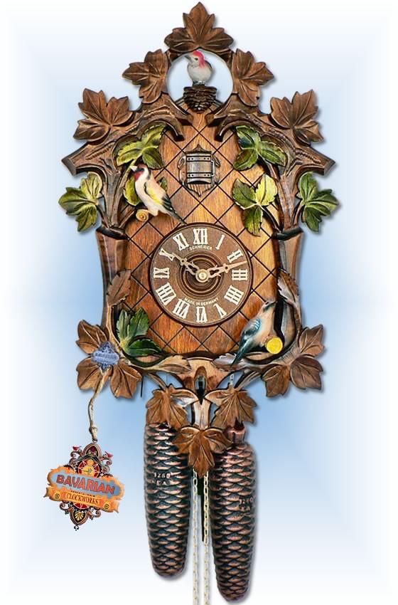 Anton Schneider 8 Day Moving Bird Springtime 17'' cuckoo clock - full view