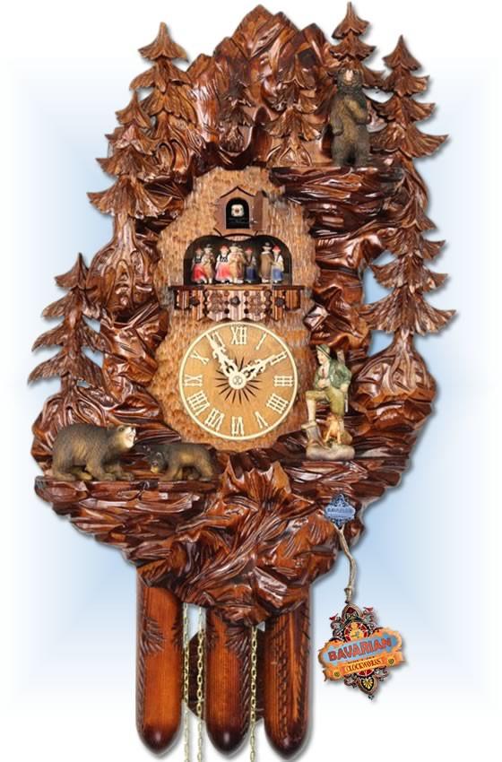 Adolf Herr   UK30 8TMT   22 inch   Bear Mountain   Hand Carved   cuckoo clock   full view