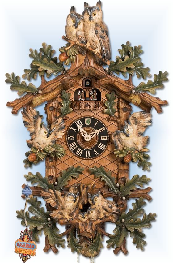 HONES | 8639/8 TBU | 35 inch | Roosting Owls | Hand Carved | cuckoo clock | full view