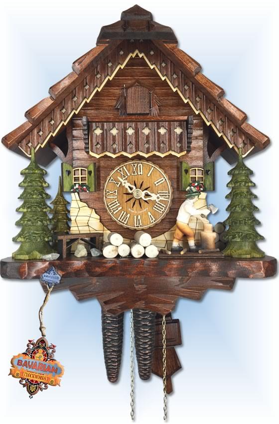 Hekas   1679 EX   11 inch   Wood Cutter   Chalet   cuckoo clock   full view