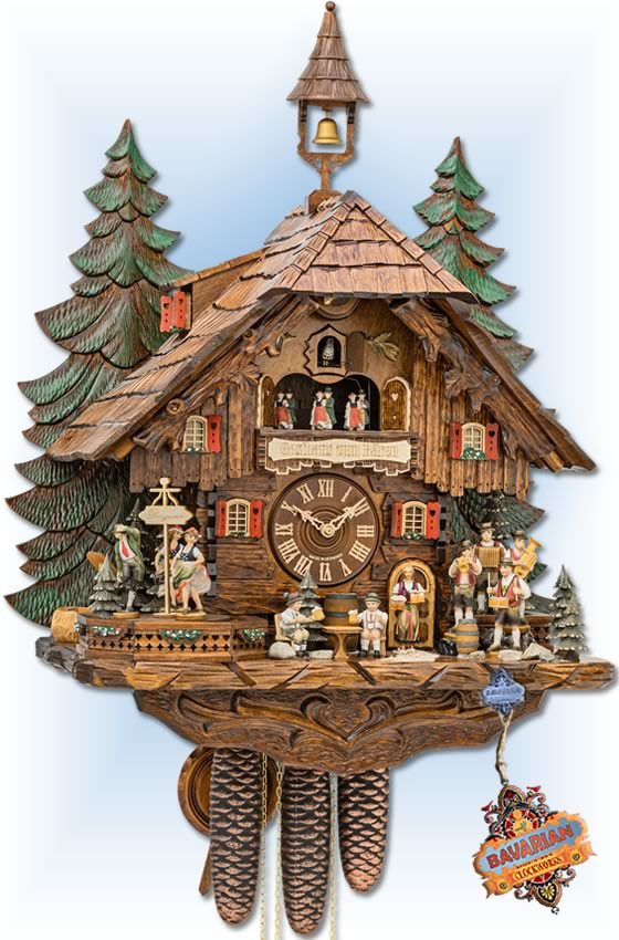 Hekas | 3741/8 EX | 25 inch | Classic Forest | Chalet | cuckoo clock | full view
