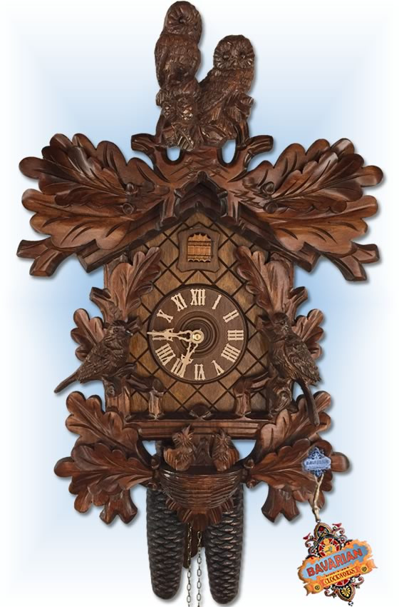 Rombach and Haas | 3437 | 19 inch | Owl and Chicks | Traditional | cuckoo clock | full view