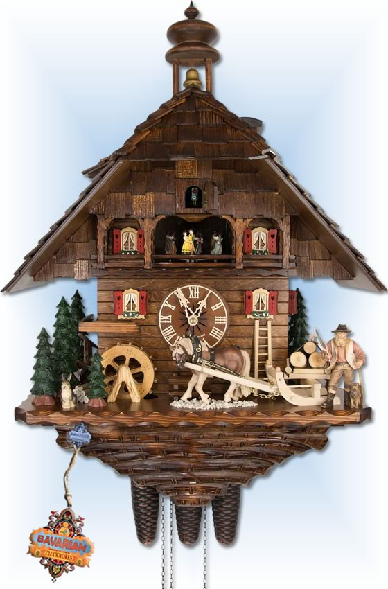 August Schwer | 5.8861.01.P | 27 inch | Timber Haul  | Chalet | cuckoo clock | full view