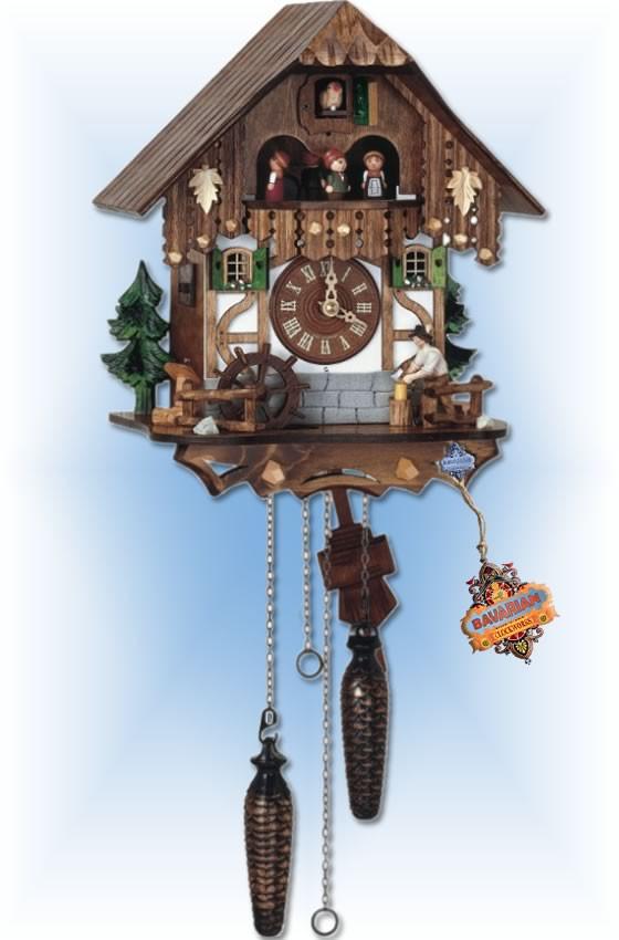 Busy Woodsman cuckoo clock - full view
