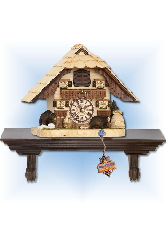 Trenkle | 4203 QM | 8 inch | Honey Bear Mantle | Chalet | cuckoo clock | full view