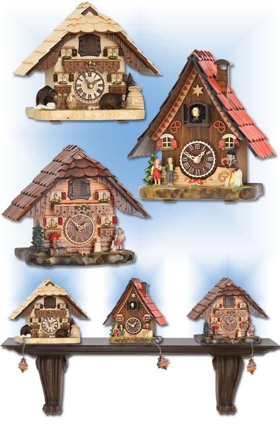 Trenkle | 501-486-4203 QM | 8 inch | Forest Mantle Set  | Chalet | cuckoo clock | full view