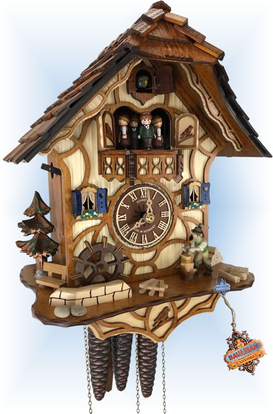 Schneider | Working Woodsman | Chalet style | cuckoo clock | full view