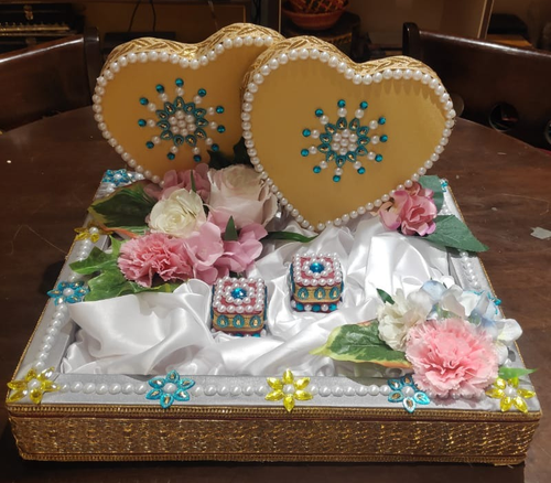 Ring Engagement Tray Pearl Hearts