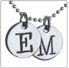 sterling silver,  stamped initial disc necklace