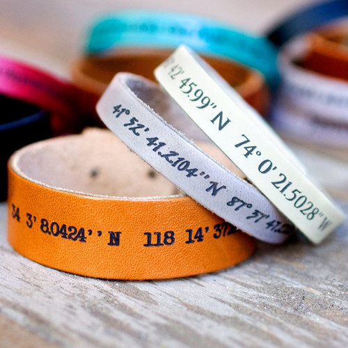 Geo- Location  / Longitude Latitude  - Leather Bracelets