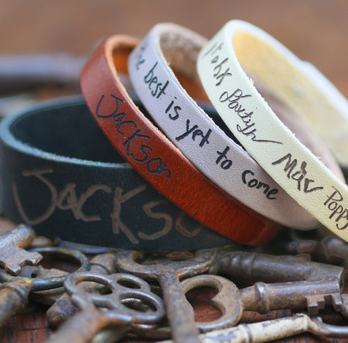 Handwritten engraved leather bracelets. Truly a one of a kind gift.