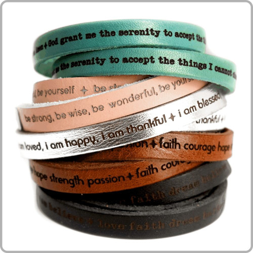 leather wrap message bracelets