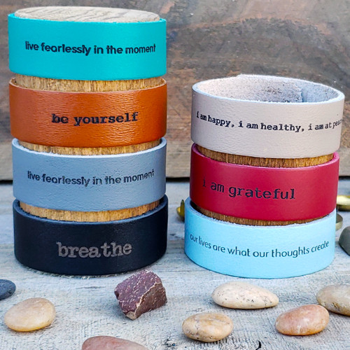 Leather message and word bracelets