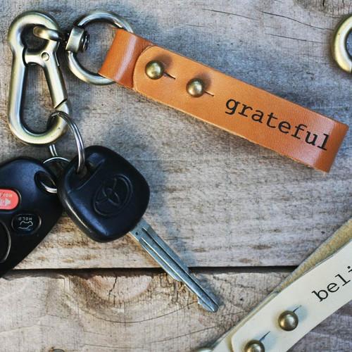 Custom or standard engraved leather key rings