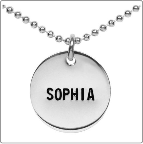 Large size silver,  stamped silver disc name necklace - up to 10 characters