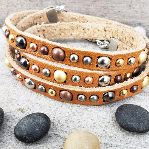 Studded leather wrap bracelets