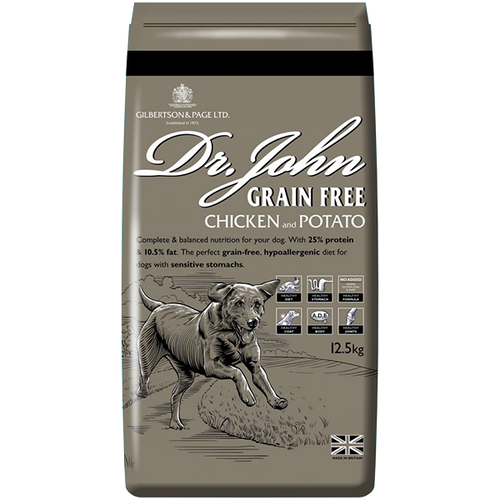 Dr John Grain-Free Dog Food is a completely grain-free food formulated for sporting and working dogs that require a sensitive diet or those dogs that have difficulty in digesting cereals.