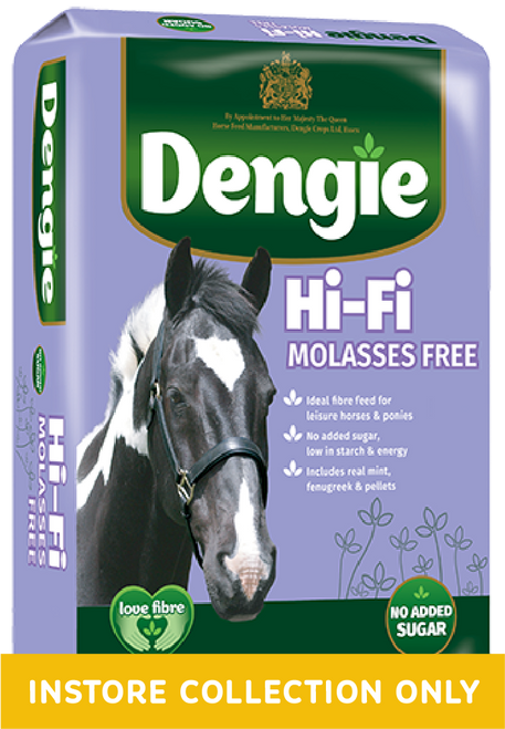 The ideal fibre feed for leisure horses and ponies requiring a low sugar and starch diet. Hi-Fi Molasses Free contains no added sugar, is molasses and preservative free.