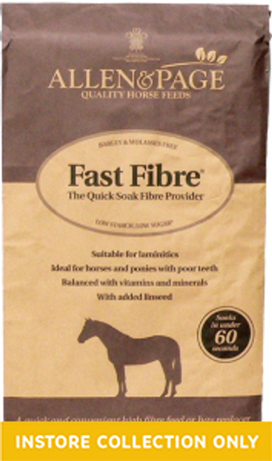 Fast Fibre The Quick Soak Fibre Provider Ideal for . . . Horses and ponies at rest or in light work Horses and ponies prone to laminitis Good doers who need a low calorie feed Horses and ponies struggling to chew due to worn or missing teeth Horses and ponies needing a partial hay replacer