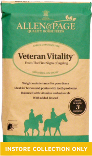 Allen & Page Veteran Vitality is a high fibre, highly palatable and easy to chew feed for older horses and ponies at rest or in light to medium work. Specially formulated for horses and ponies from the first signs of ageing, providing all the nutritional requirements for optimum health.