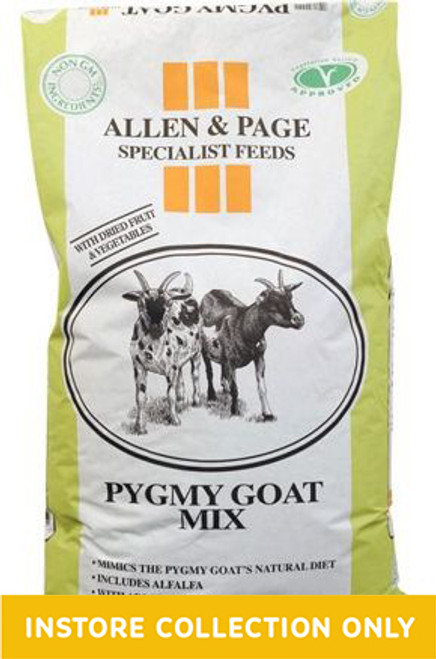 Pygmy Goat Mix is a wholesome feed with higher fibre levels. With added dried fruit and vegetables, similar to those which Pygmy goats would naturally forage for.  Specially made with the Pygmy goat's unique nutritional needs in mind A wholesome feed with increased levels of fibre Includes yeast and a prebiotic for healthy digestion Contains dried fruit and vegetables